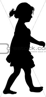 a walking girl silhouette vector