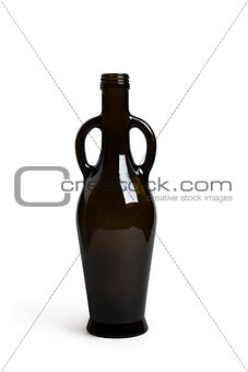 amphora bottle of dark glass isolated on white background