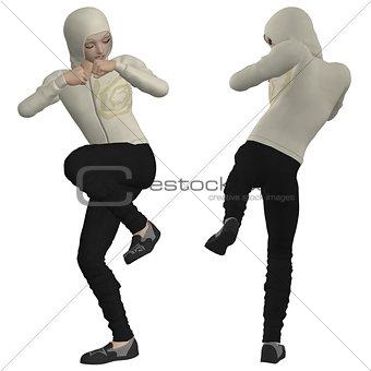 3D man in hoodie