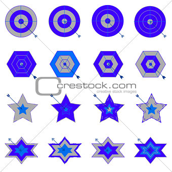 Design target and arrow icons on white background