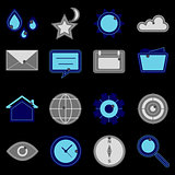 Design useful web icons on black background