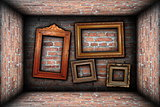 vintage room interior backdrop with ancient frames