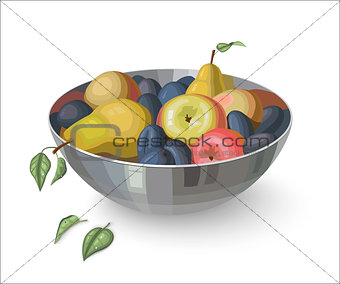Bowl with fruits isolated on white background