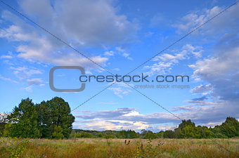 Autumn landscape with low clouds