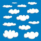 White clouds on blue sky background vector set.