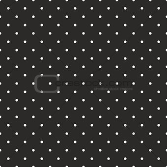 Seamless vector pattern with white polka dots on black background