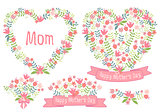 Happy mother's day, floral hearts, vector set