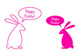 Happy easter card with pink bunnies, vector