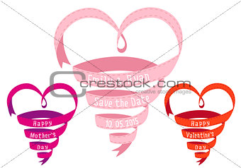 Heart shaped ribbon, vector design elements