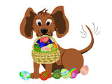 dog with basket of easter eggs in mouth