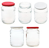set of glass jar isolated on white