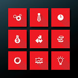 Vector flat business icon set