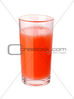 Tomato juice in glass isolated on white