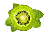 Fresh kiwi slice over mint leaves isolated on white background