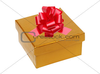 Beautiful golden gift box with red bow isolated on white