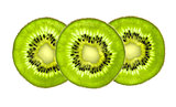 Beautiful slices of fresh juicy kiwi isolated on white backgroun