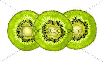 Beautiful slices of fresh juicy kiwi isolated on white backgroun