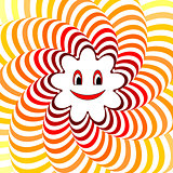 Cartoon smiling sun. Colorful striped twisting background
