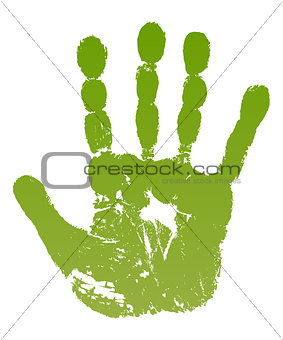 Old man green hand print