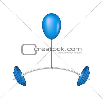 Blue balloon lifting a heavy barbell