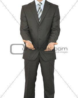 Man in suit holding his hands before him