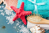 Sea spa setting with starfish