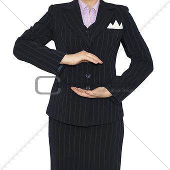 Woman in suit holding his hands before him