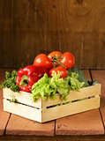 various vegetables in a wooden box (tomatoes, cucumbers, lettuce)