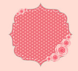 Cute Frame with Rose Flowers  Vector Illustration