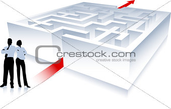 Business team on background with maze