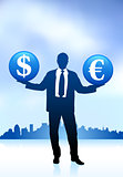 businessman holding money symbol icon internet background