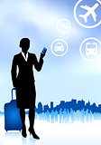 businesswoman traveler with luggage on skyline background