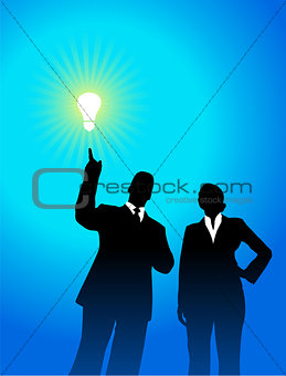 business team silhouettes with light bulb