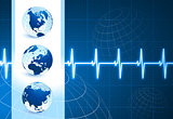 Globes on blue internet background with pulse rate