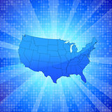 USA on blue glowing background with circular pattern