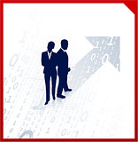 business team silhouettes on binary background