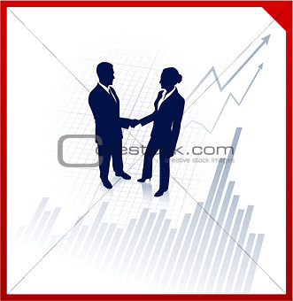 business team silhouettes on corporate chart background
