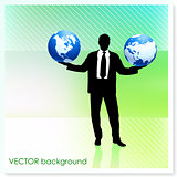 Businessman with Globe on Vector Background