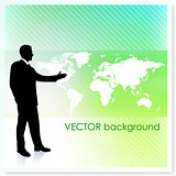 Businessman with World Map on Vector Background