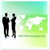 Business Team with World Map on Vector Background