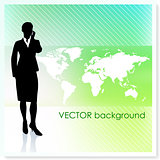 Businesswoman with World Map on Vector Background