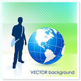 Young Traveler with Globe on Vector Background