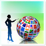 Businesswoman with Flag Globe on Vector Background