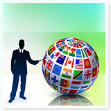 Businessman with Flag Globe on Vector Background