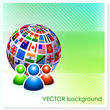 User Group with Flag Globe on Vector Background