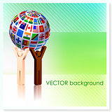 Stick Figures holding Flag Globe on Vector Background