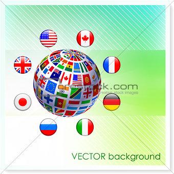 Flag Globe on Vector Background