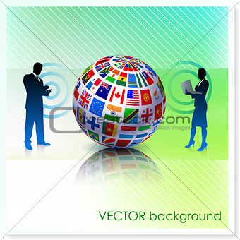 Business Couple with Flag Globe on Vector Background