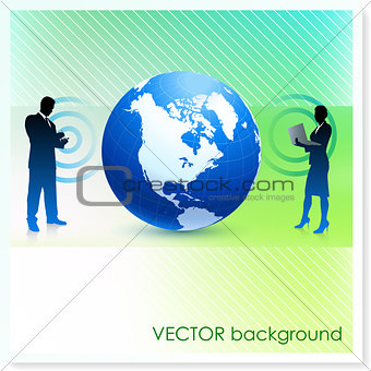 Business Team with Globe on Vector Background