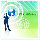 Businesswoman with Globe on Vector Background